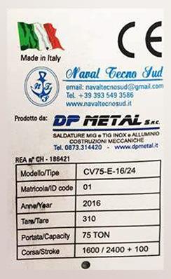 Targhetta certificazione CE